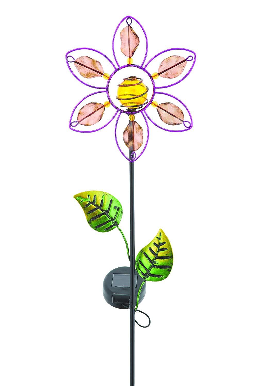 Russco III GS134912 Solar Powered LED Flower Garden Stake, Yellow