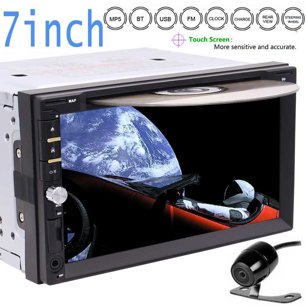 """New Arrival - 6.95"""" Touchscreen Double DIN Car Electronics pc Radio In Dash Bluetooth Car Stereo DVD Player Mp3 Audio 1080P Video Player AM/FM Radio/TF/USB/AUX-in/Subwoofer/AV out + Remote Contro"""
