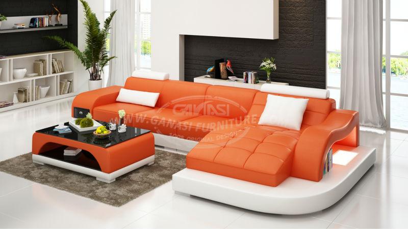 Confortable moderne en cuir canap import s en cuir led lumi re canap ensemb - Canape bonne qualite ...