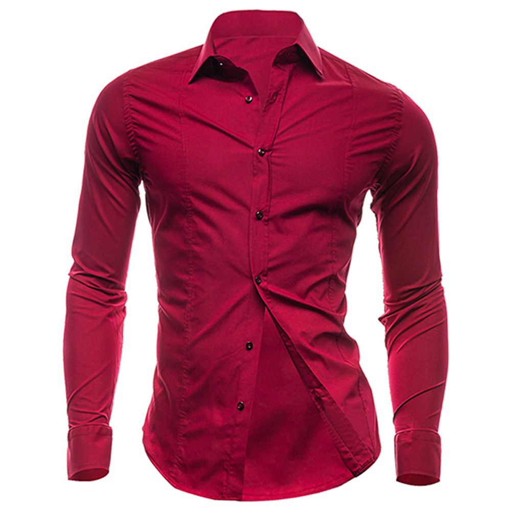 Buy Nanshichenyi Long Sleeve Slim Men Shirt Designer Solid Male