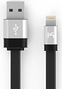 [Apple MFI Certified] KiDiGi Lightning Flat Cable 1M (3.3ft) 8 Pin USB Sync & Charge Cable for Apple iPhone 5 / 5S / 5C / 6 / 6 Plus / iPod 7 / iPad Mini / Retina / iPad 4 / iPad Air (Compatible with iOS 8) [Black]