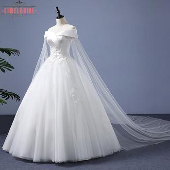 Bride Ball Gown Long Tail White Beach Wedding Dress