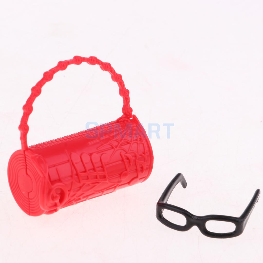 a76ed3d2e0 Elegant Red Dress Hat Black Boots Glasses 6pcs Suit Clothes for Barbie Doll  Dating Party Outfit