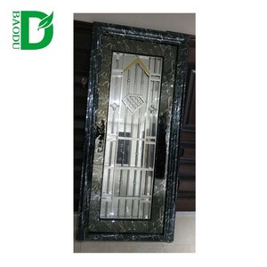 swing door style marble color stainless steel safety door grill design cheap exterior steel door
