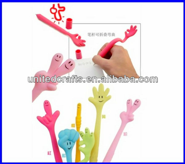 Gift bendable hand gesture shape ball pen