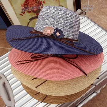 221722baa20 Women Wide Brim Summer Flat Top Rainbow Ladies Beach Straw Hats