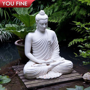 Hand Carved White Marble Large Buddha Statues