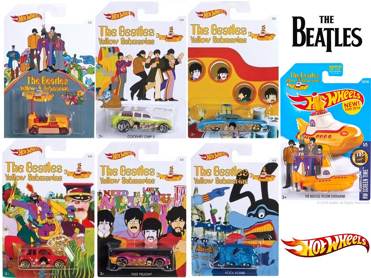 Beatles Hot Wheels Yellow Submarine New Model 2016 Complete Exclusive car set Blue Meanie Kool Kombi / Bump Around Cockney Cab / Fish'd N Chip'd - Morris Mini - Fast Felion rock band Limited Edition
