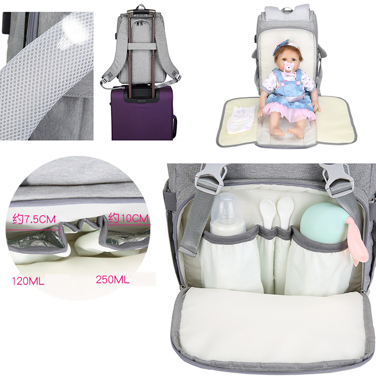 Multifunctional Waterproof Travel Mummy Mom Back Pack USB charging Baby Changing Nappy Bag Baby Diaper Bag