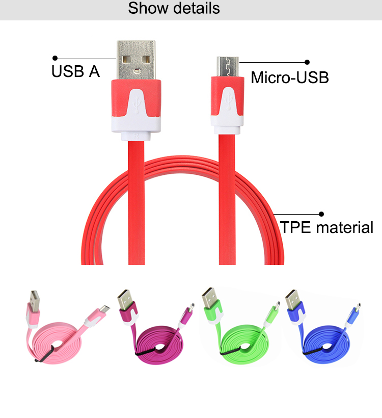 APPACS New Flat Style Tpe Noodle Cable Micro Usb Data Charging Sync Data Cable For Samsung /Xiaomi/Letv Usb Charging