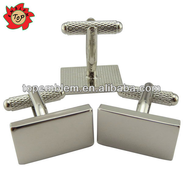 Silver plated rectangle shaped blank cufflinks