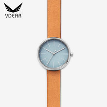 30mm Round face classic quartz custom watch stainless steel minimalist ladies leather watches for wholesale