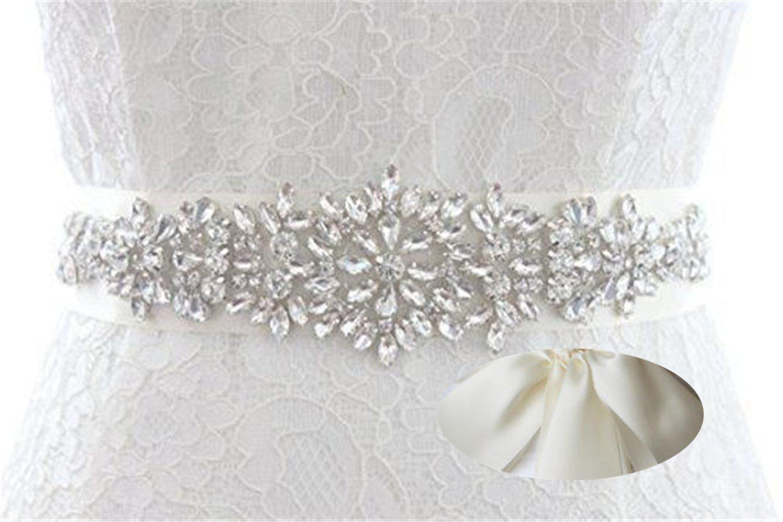 72155597781e Get Quotations · QueenDream Ivory Bridal sash Wedding Bridal Belt Crystal Rhinestone  Belt Womens Rhinestone Belt Iridescent Rhinestone Belt