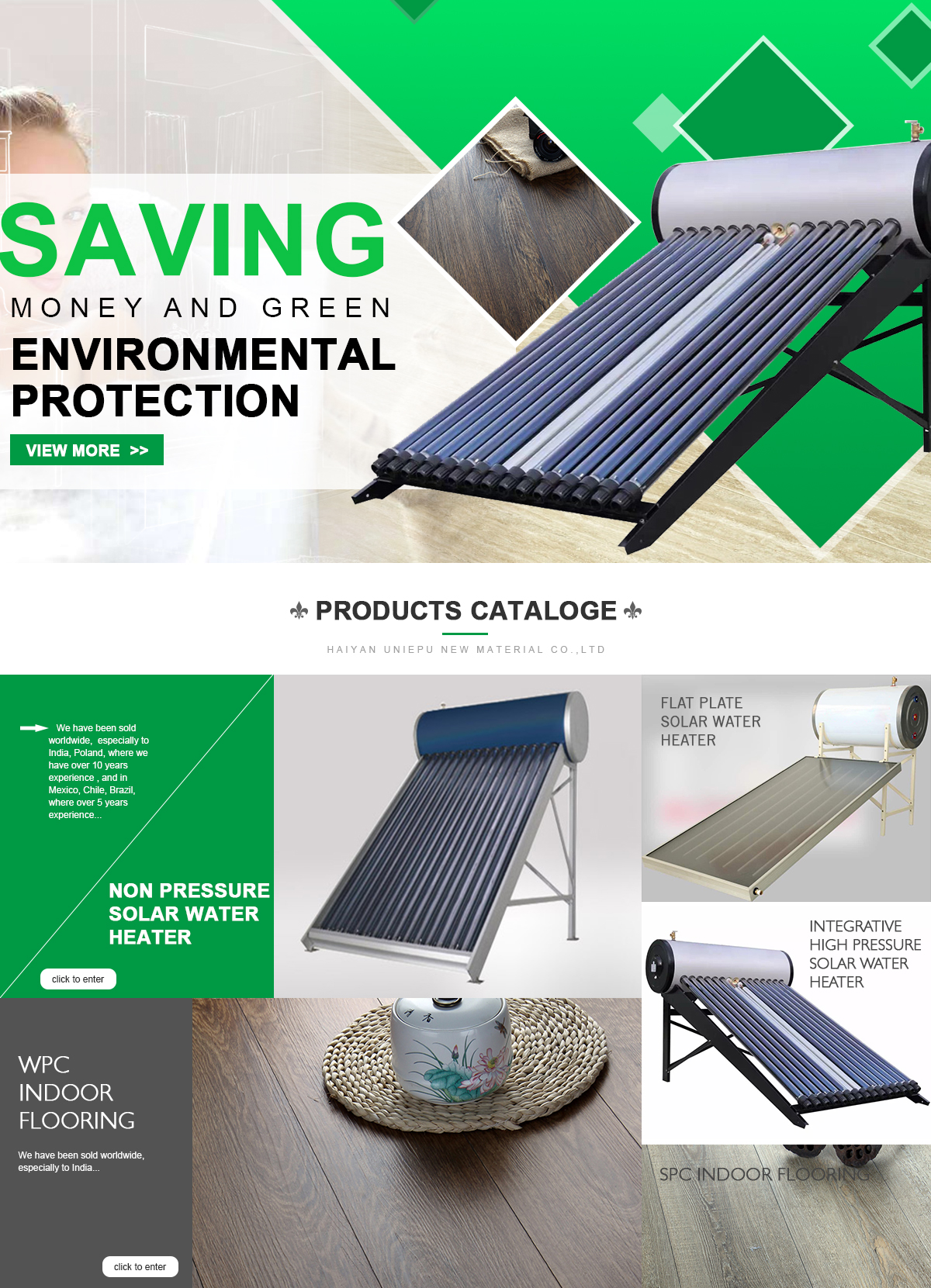 Haiyan Uniepu New Material Co., Ltd.   Flat Plate Solar Water Heater,  Integrative High Pressure Solar Water Heater