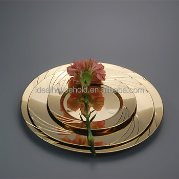 10.2\u0026quot;Plastic Rould Dinner Plate PS Disposable Gold Wedding Plates & 10.2\