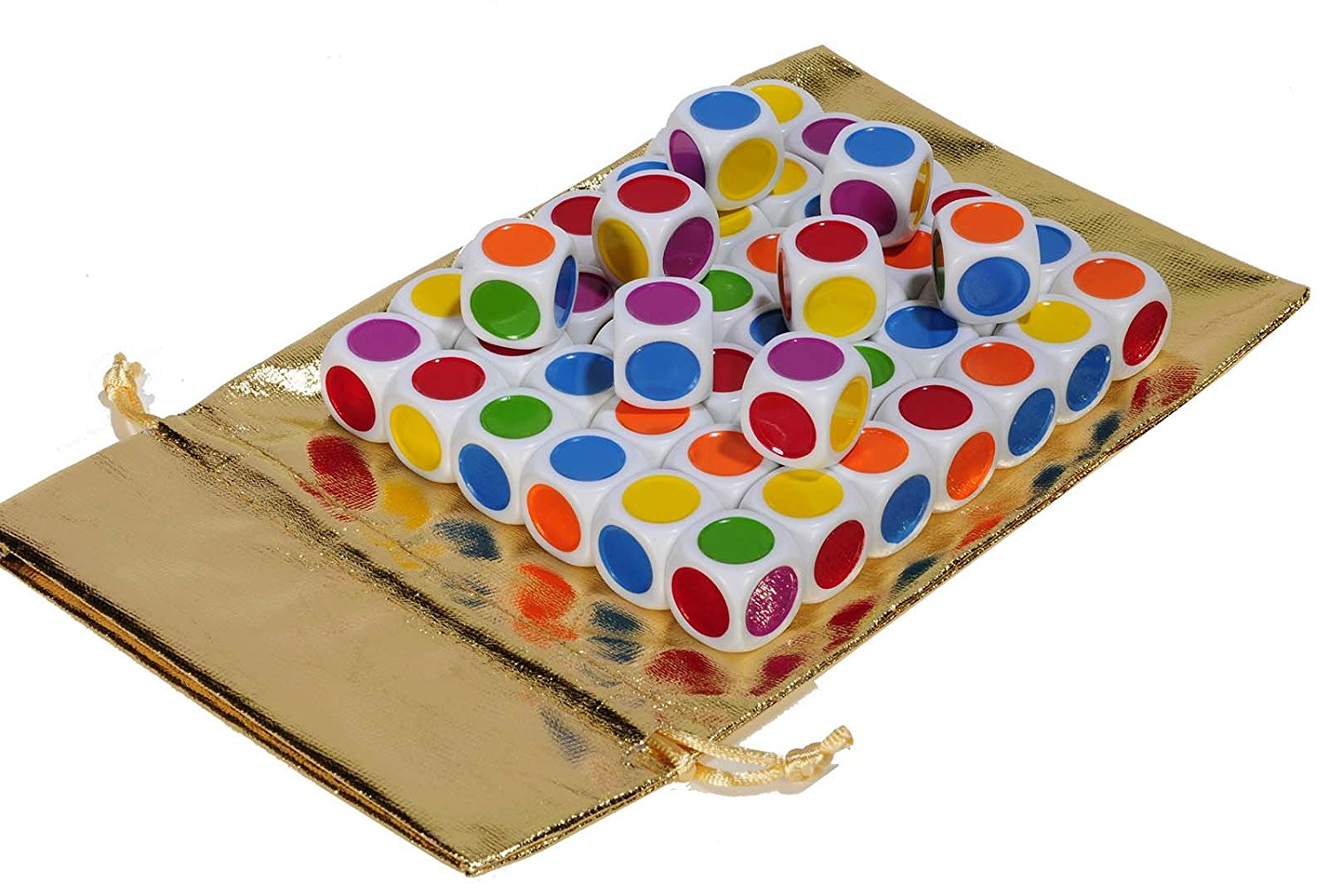 """Color Dot Dice, D6, 3/4"""" or 20mm, with Six Colors _ Bundle of 50 Identical Dice _ Bonus Gold Metallic Cloth Drawstring Storage Pouch _ Bundled Items"""