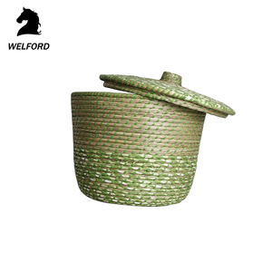 High Quality Hand Weaved standing round fruit rattan packing wicker basket with lid