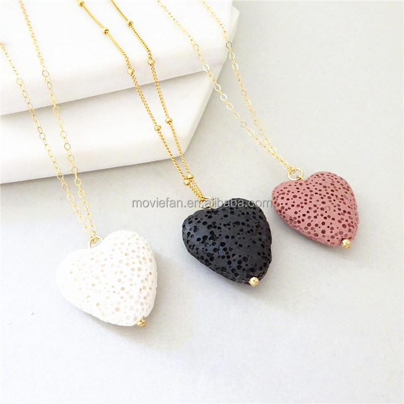 Heart Lava Stone Diffuser Necklace Black Essential Oil jewelry Aromatherapy necklace