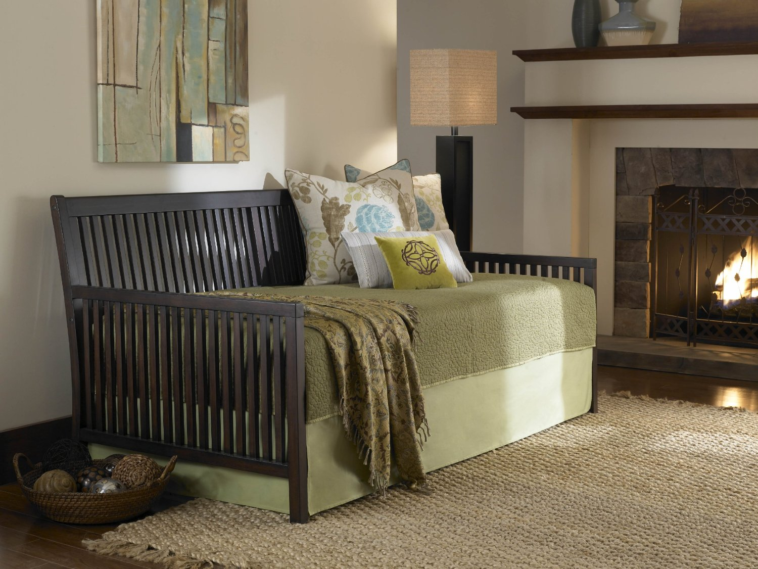 Fashion Bed Group Mission Complete Wood Daybed with Link Spring Support Frame and Pop-Up Trundle Bed, Espresso Finish, Twin