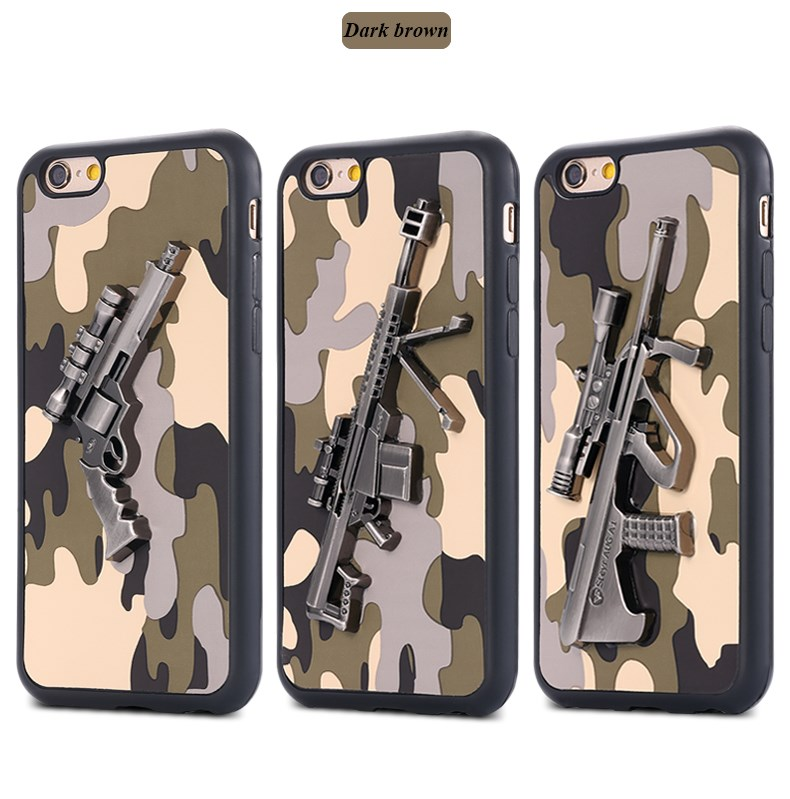 2016 hot product funky camouflage pattern gun phone case 3D 4.7inches tpu mobile case cover for apple IPhone 6 7