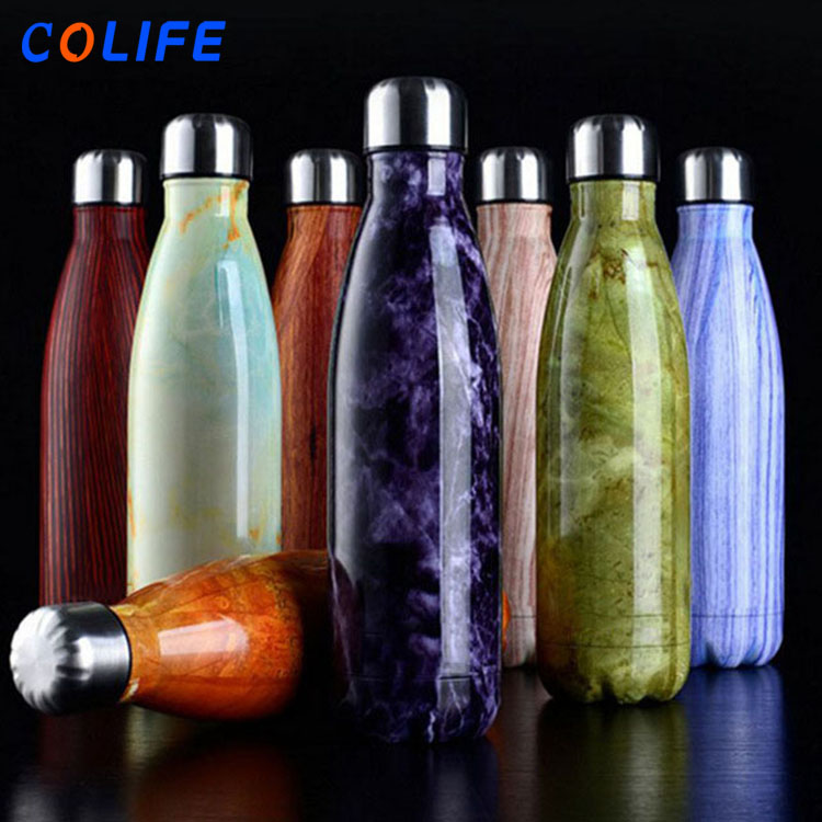 Wholesale Engravable Insulated Stainless Steel Cola Shaped Swelling Water Bottle with Custom Logo