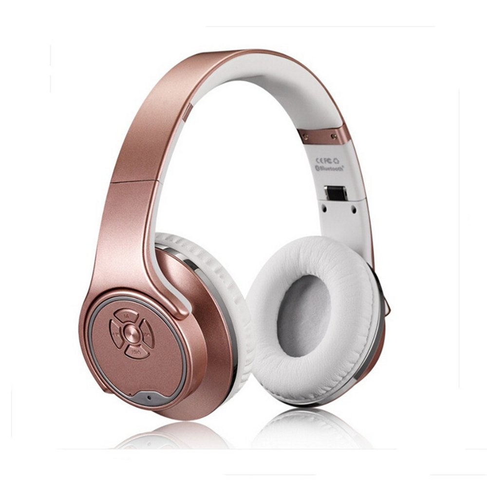 Over-Ear Headphones-PluStore MH1 Foldable Wireless Bluetooth 3.0 On-Ear 2 in1 Headphones with Twist-out Speaker Stereo Headphone Headset (Rose-Gold)