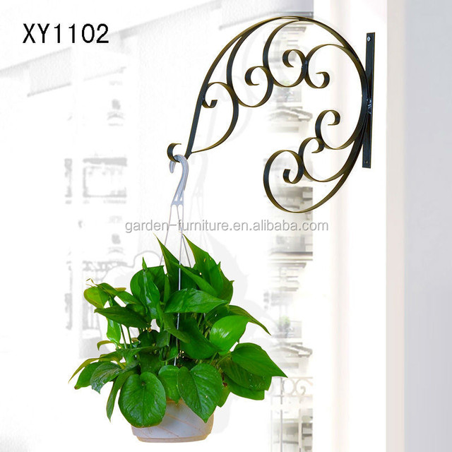XY1102 Metal Hanging Plant Basket Brackets Hooks Scroll Works Home Garden  Wall Decor Wrought Iron Crafts