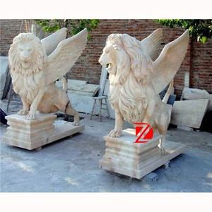 paired winged lion garden statue