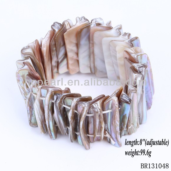 hot sale summer natural sea shell bead bracelet bangle raw mother of pearl shells jewelry