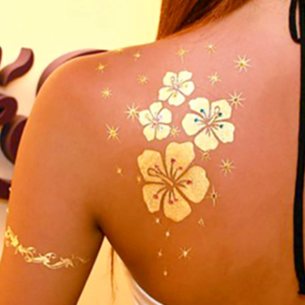 Oro Plata Papel De Aluminio Negro Del Tatuaje Tatuaje Temporal