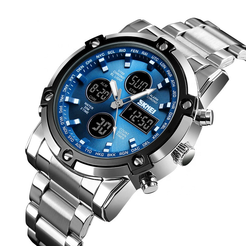 Relojes Hombre Stopwatch Top Brand Luxury 3time Skmei 1389 Metal Wrist Mens Watches