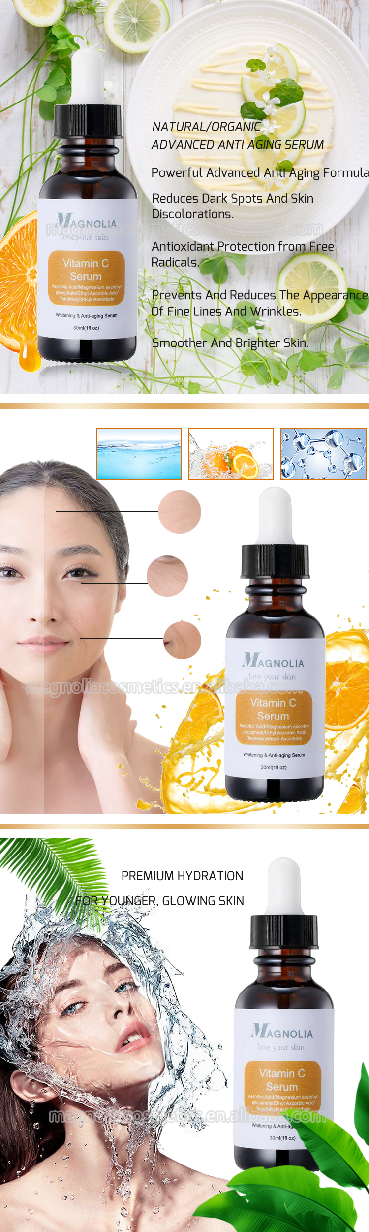 Skin Care Organic Hyaluronic Acid 20% Vitamin C Serum with MSDS GMP