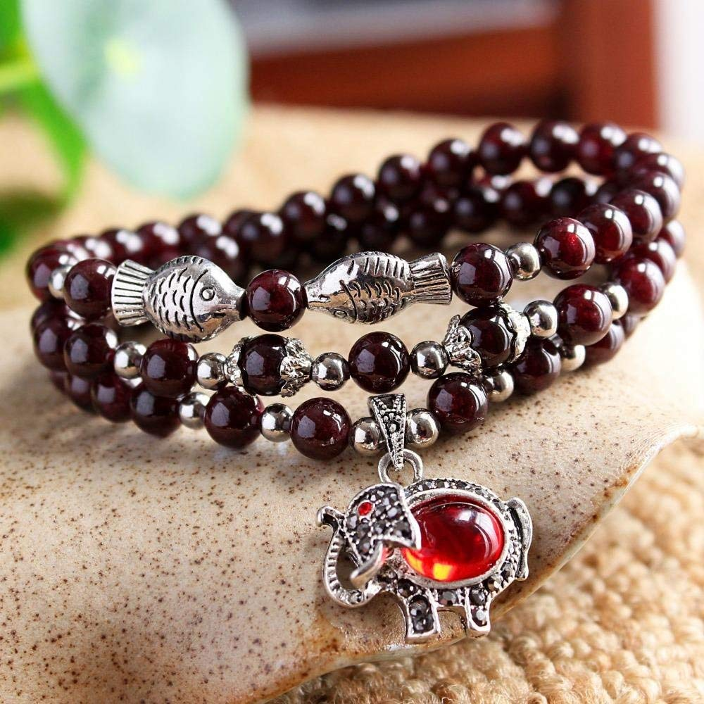 WinWinWin Gifts Natural AAA Garnet Bracelet DIY Fashion Jewelry Animal Charm Elegant Tibetan Silver Plated Elephant Bracelets
