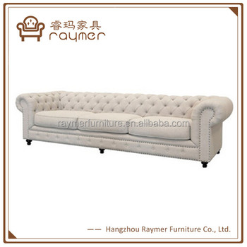 Natural Linen Long Chesterfield Sofa/french Country Style Provincial ...