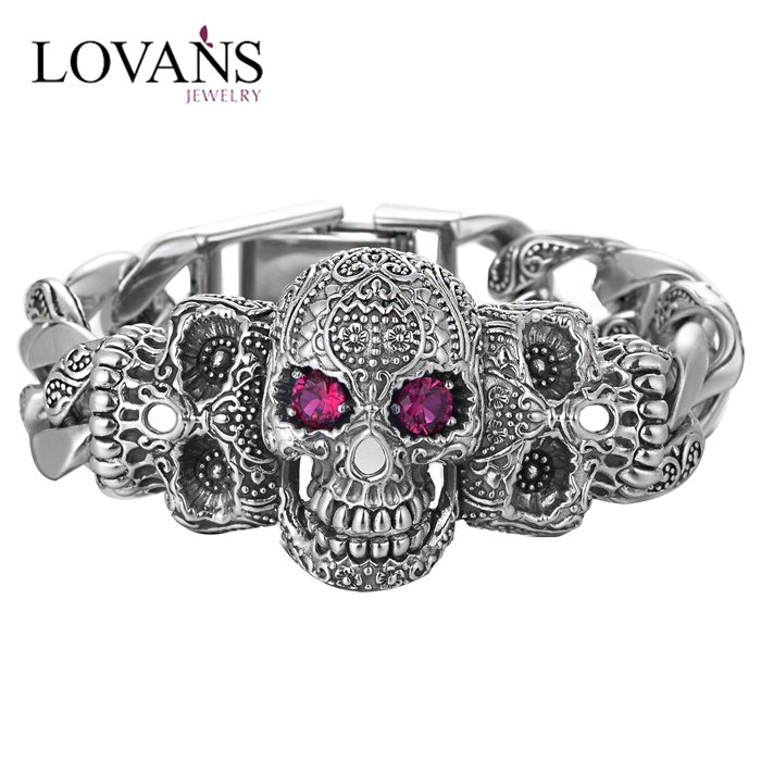 new products 925 sterling silver skull bracelet hand chain for man