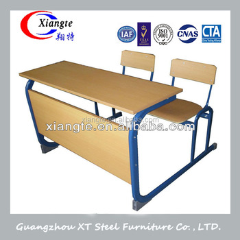 Double/combo Dual School Student Desk With Chairs Wooden Design ...