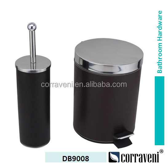 plastic foot pedal trash can and toilet brush holder DB9008