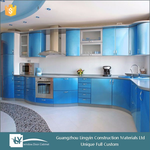 acrylic indian self assemble kitchen cabinets curved design with bright color