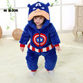 Brand Spring Winter Baby Flannel Captain America Costume Onesie Climbing Pajamas Romper Jumpsuit Coverall Thicken Baby