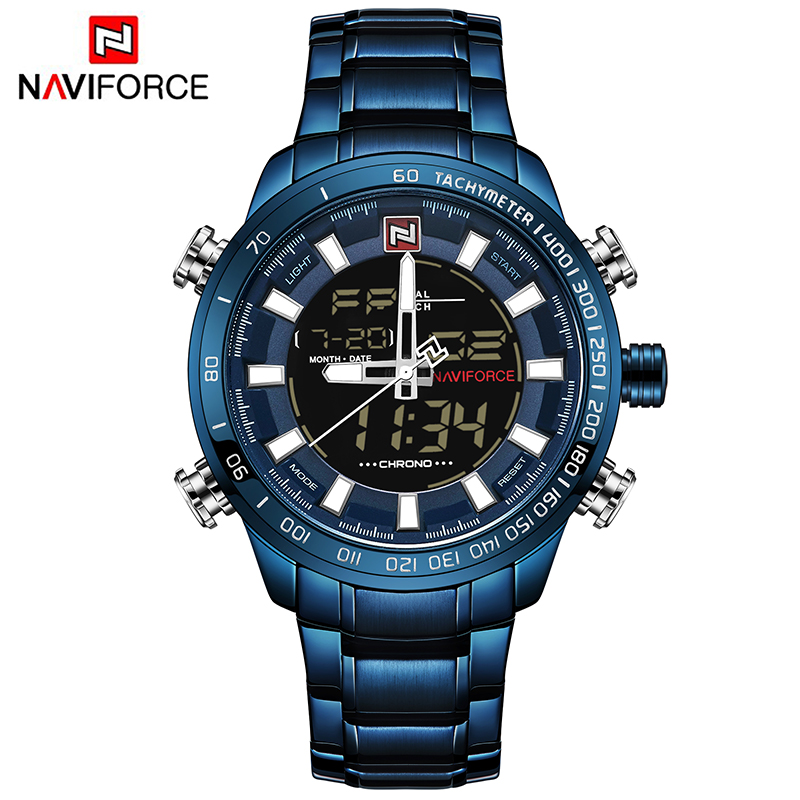 NAVIFORCE 9093 Mens Quartz+Digital watches Stainless Steel LED 30M Waterproof China Brand Watch relojes, As picture