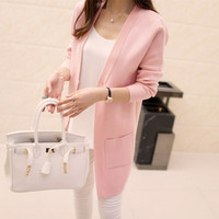2018 Women Spring Autumn Sweater Outwear Coat Long Cardigan Slim Pocket Loose Knit Sweater