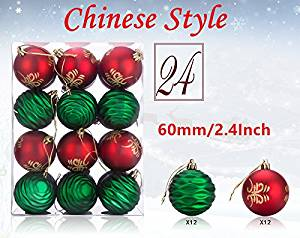 get quotations 24ct christmas ball ornaments redgreen shatterproof xmas decorations tree mini balls for holiday