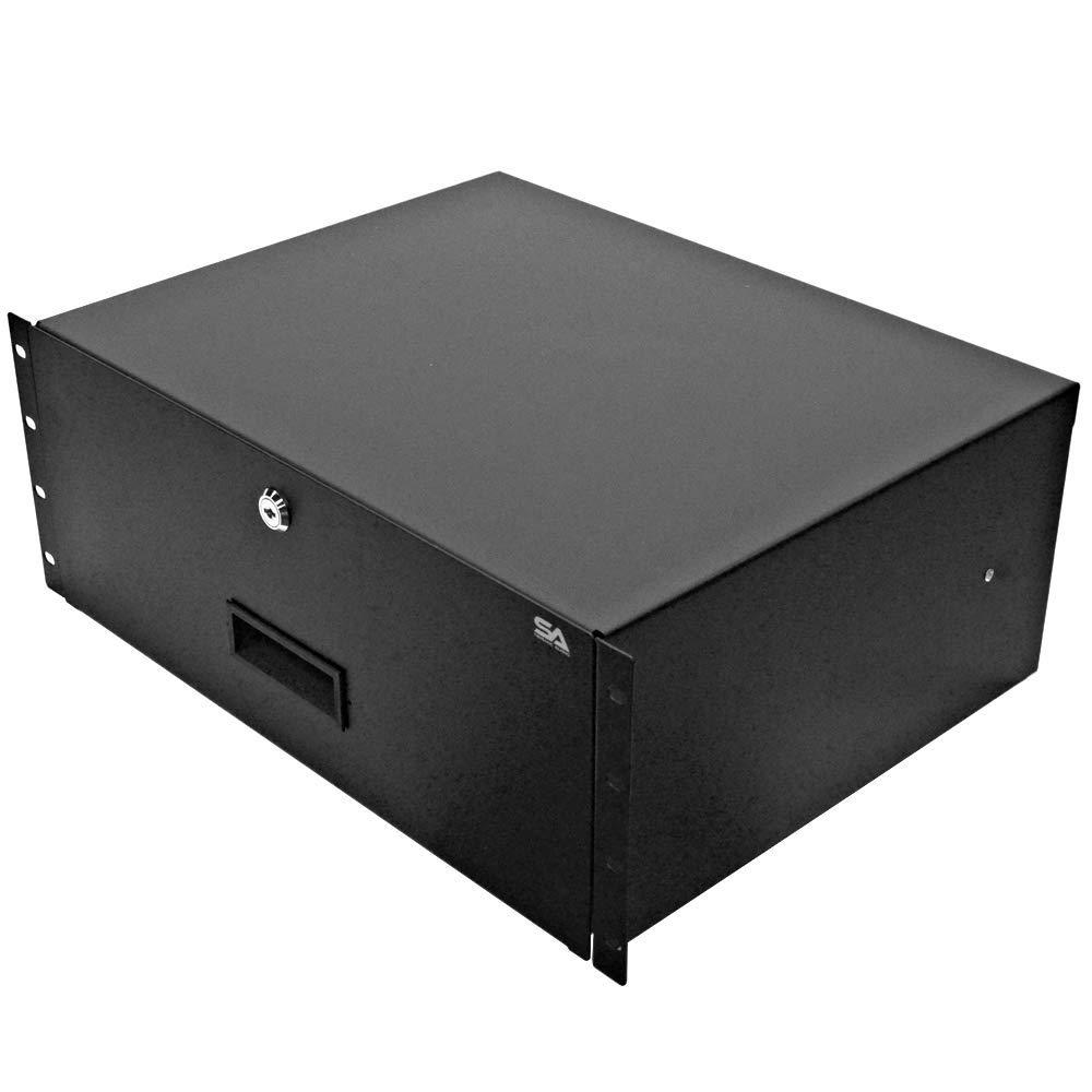 "Seismic Audio - SA-RD4-4 Space PA/DJ Metal 19"" Rack Case Locking Drawer - 4U Server Cabinet Drawer with Keys"
