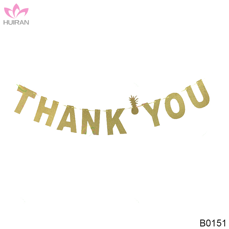 Thanksgiving Day Glitter Gold Paper Bunting Banner Thank You Banner