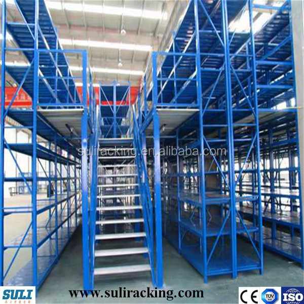 Heavy duty mezzanine racking systems for warehouse storage