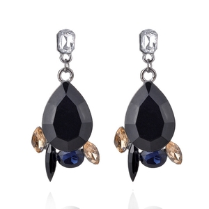 Women's Big Table Top Faceted Teardrop Stone Costume Jewelry Drop Earrings for Wholesale