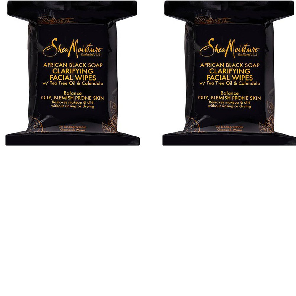 Shea Moisture Makeup Remover Face Wipes, African Black Soap, with Tea Tree Oil & Calendula, Removes Makeup & Dirt to Clarify Oily Blemish Prone Skin, 60 Biodegradable Wipes (2 Pack)