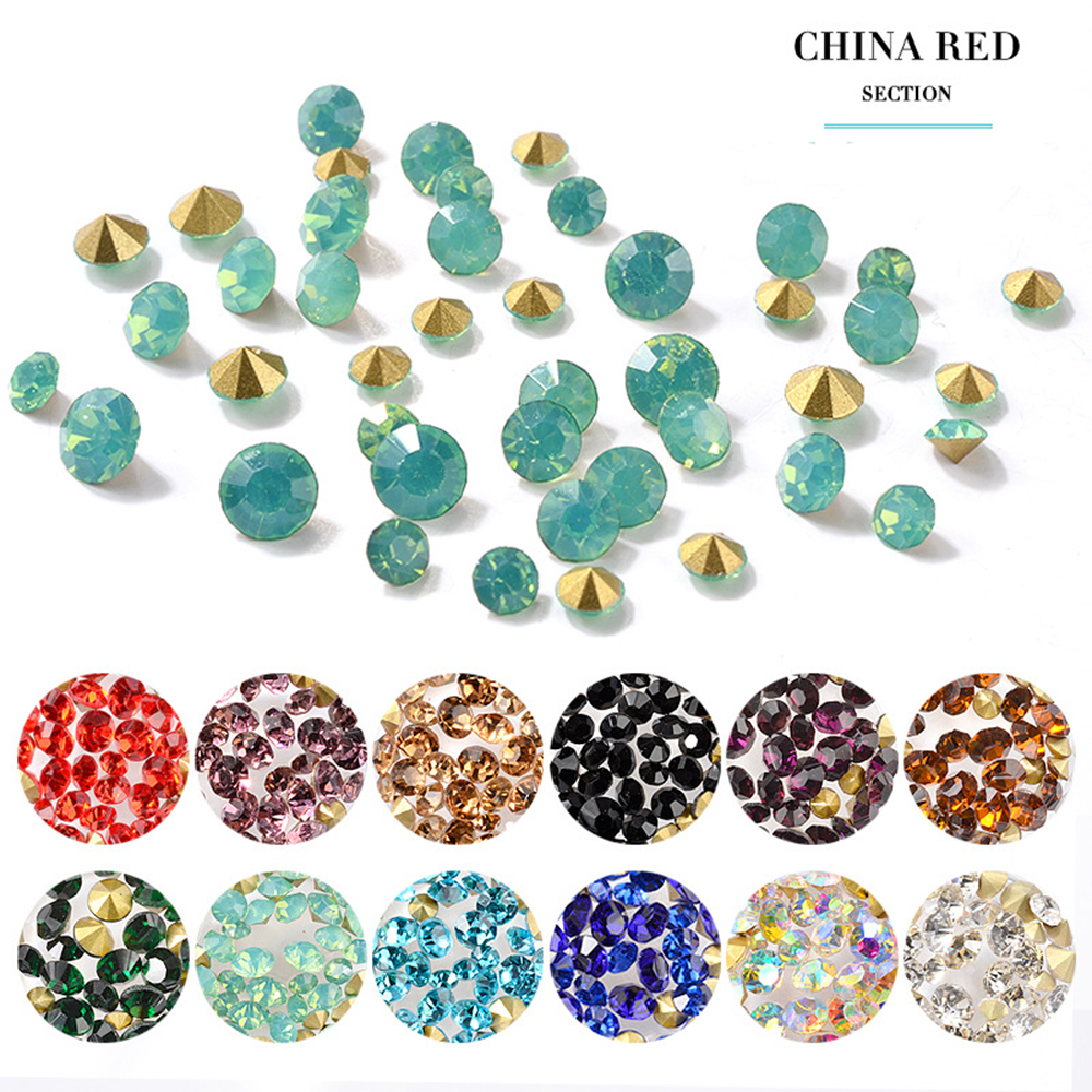 Colorful Round Pointed Back Rhinestone Nail Jewelry Decoration Crystal Rhinestones For Nails Art Decorations DIY