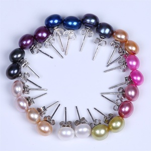 Popular 925 Silver Charms Stud Men Pearl Jewelry Earring