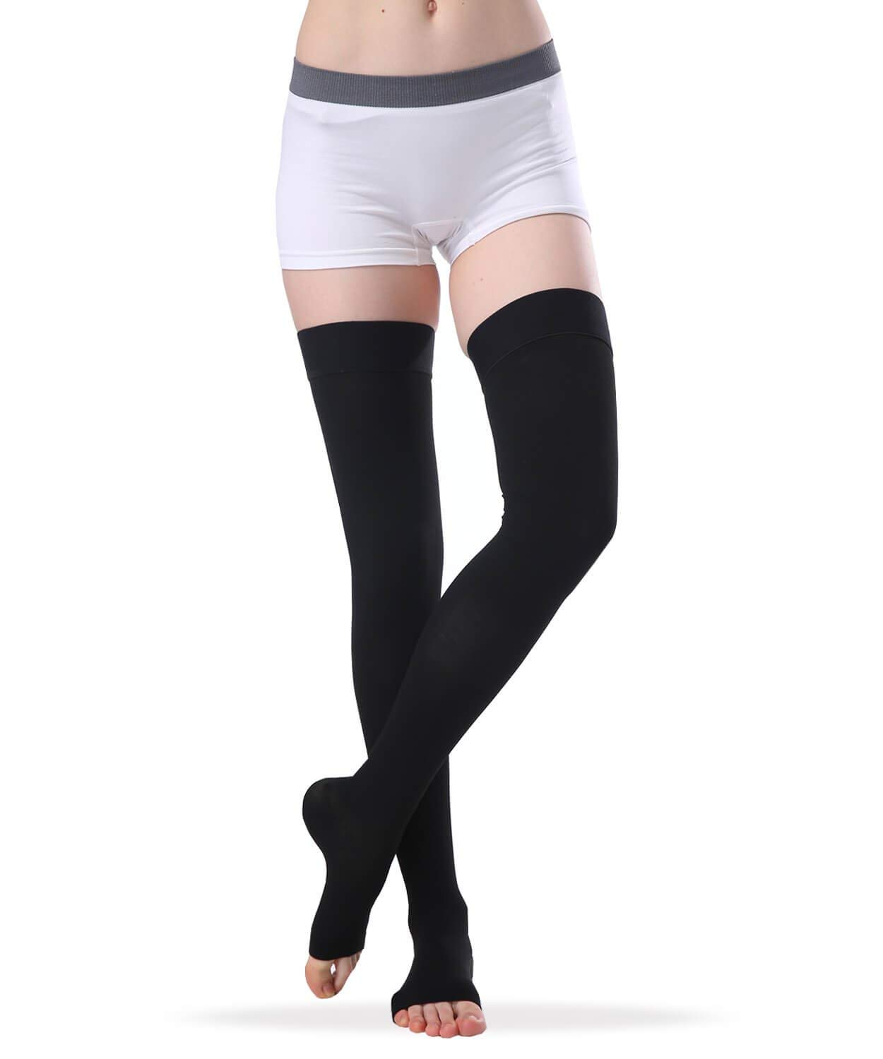 017527b3b21 Get Quotations · SWOLF Women s Thigh High Open Toe Compression Stockings